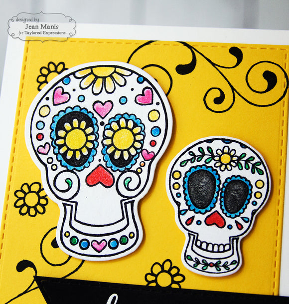 Taylored Expressions cling rubber stamps & thin metal dies - Sugar Skulls, Made in USA
