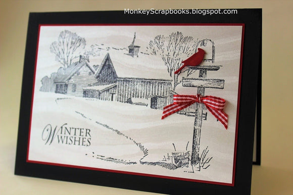 Impression Obsession Winter Farm cling mounted rubber stamp, Made in USA