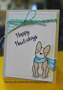 Avery Elle clear acrylic stamps & thin metal dies - Happy Howl-idays , Made in USA