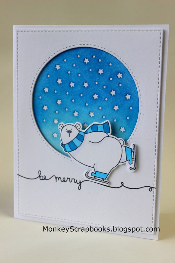 My Favorite Things clear acrylic stamps & thin metal dies- Polar Bear Pals, Made in USA