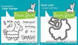 Lawn Fawn clear acrylic stamp set & metal dies - Year Seven, Made in USA