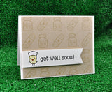 Lawn Fawn clear acrylic stamp set & metal dies - Get Well Soon, Made in USA