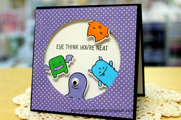 Lawn Fawn clear acrylic stamp set & metal dies - Monster Mash, Made in USA