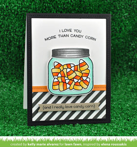 Lawn Fawn clear acrylic stamp set & metal dies - How you Bean? Candy Corn Add On, Made in USA