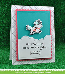 Lawn Fawn clear acrylic stamp set & metal dies - Winter Unicorn, Made in USA