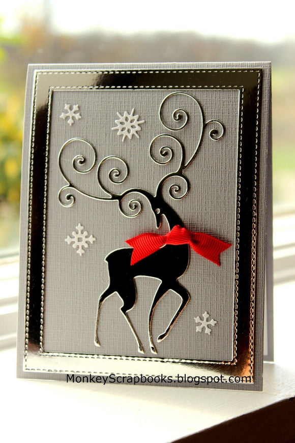 Impression Obsession Reindeer Flourish thin metal dies, Made in USA
