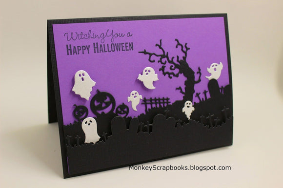 Impression Obsession Halloween Landscape Layers thin metal dies, Made in USA