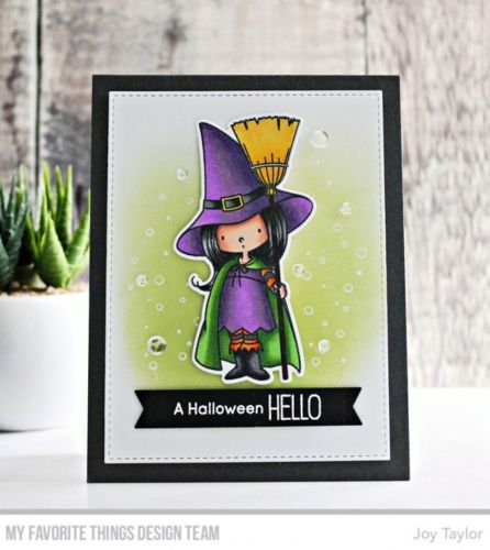 My Favorite Things clear acrylic stamps & metal dies- Witch Way is the Candy, Made in USA