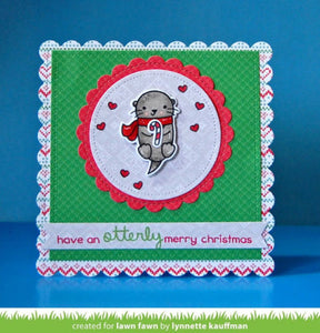 Lawn Fawn clear acrylic stamp set & metal dies - Winter Otter, Made in USA