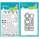 Lawn Fawn clear acrylic stamp set & metal dies - Love Letters, Made in USA