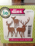 Impression Obsession Deer Trio thin metal dies, Made in USA