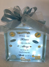 Load image into Gallery viewer, Welcome Baby Boy Light Block is a perfect gift for a new baby night light or any child's playroom. It can be customized for either a boy or a girl. We can customize this block with a prayer, footprints, weight, height, date of birth, time of birth, and photos provided by you.   We will finish it with battery operated or plug in lights per your request. This gift will be cello wrapped with a card and a handmade bow. We reserve the right to use equal or greater value items to decorate this block.