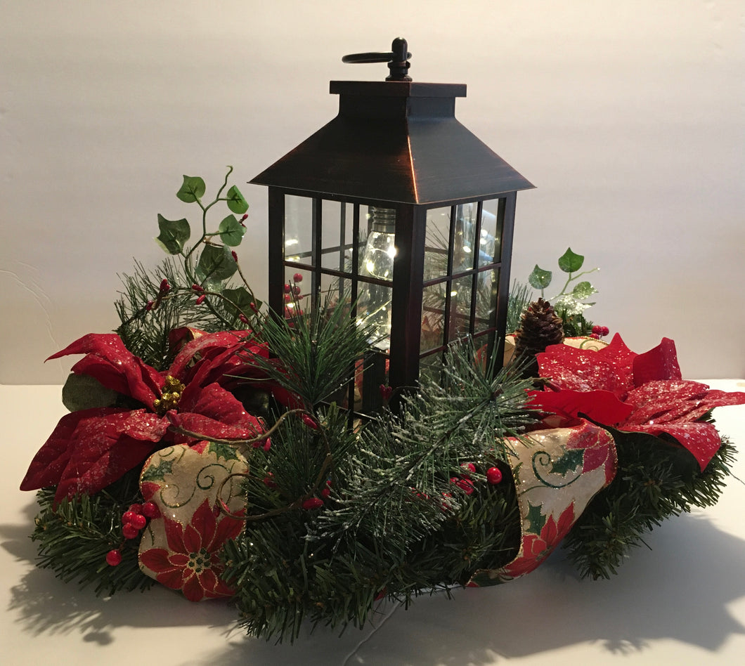 Traditional Christmas Wreath with Lantern