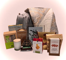 Load image into Gallery viewer, This perfectly filled gift basket should be sent to someone special along with your warmest wishes. Filled with goodies that are perfect for a cozy night in. Perfect for engaged couples, just married couples, anniversaries, new home, retirement, nurse, professional gift, corporate, personal or any kind of celebration to be shared, couples who had a new baby, and just because you are loved! Included in this gift: