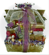Load image into Gallery viewer, This gift basket is filled with cheese, crackers, Focaccia crisps, wine and cheese biscuits, butter pretzels, fruit medley snacks, caramel popcorn, cookies, a variety of chocolates and so much more!  We cello wrap your gift with a beautiful handmade bow and notecard. We can ship this gift nationwide. We can customize this gift by size, and colors.