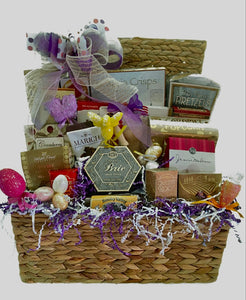 Easter Sweet and Savory Holiday Basket is a sensational pre-dinner basket for all to enjoy! It has a variety of wonderful treats for your hostess to share or just to send and wish someone a Very Happy Easter! We have customized this basket for someone special! We also added a dog bone for a special fur baby.