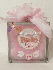 New Princess on the Block is a perfect gift for a new baby night light or any child's playroom.  It can be customized for either a boy or a girl. We can customize this block with a prayer, footprints, weight, height, date of birth, time of birth, and photos provided by you.   We will finish it with battery operated or plug in lights per your request. This gift will be cello wrapped with a card and a handmade bow. We reserve the right to use equal or greater value items to decorate this block.