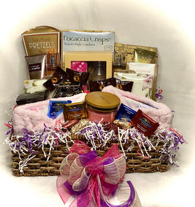 """Girls Night In"" ~ Is the perfect basket for just that! Invite your BFF and the two of you can have a fantastic night with pampering and treats to enjoy! This basket is filled with lots of wonderful goodies to spoil yourselves with. This gift basket will make your girlfriend or sister enjoy some chill time with you! Great gift for the bridal party, birthday celebration, mom and daughter night in and so much more."