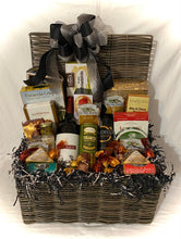 Load image into Gallery viewer, So Many Birthdays so little time... I say take the time to enjoy this perfectly created basket with lots of treats and fabulous wine! This large gift basket is designed for a long-lasting celebration! It includes two bottles of wine, butter pretzels herb breadsticks, caramel popcorn, focaccia, water crackers, toffee peanuts, wine, and cheese biscuits, chocolate covered cashews, soft swiss cheese,