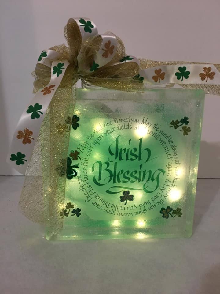 Irish Blessing Light Block lights up with battery operated lights. We can customize a saying and add names as well. We can design this block the way you want. It can be a double-sided block that can be placed anywhere or in any room to celebrate Saint Patrick's Day! Below is a picture of the back of our blocks.