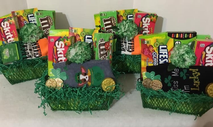 St. Patrick's Day Love...is a gift full of treats and love for your special someone. This container was a custom gift filled with candy, socks, cards, and more for some Little Leprechaun's! We can fill a cute box, bag, or container for your sweet leprechaun. Just reach out to us on our website or call, text, email us and we will gladly assist you at 704.526.7407 or perfectselectioncreativegifts@gmail.com and we can assist you with your order.