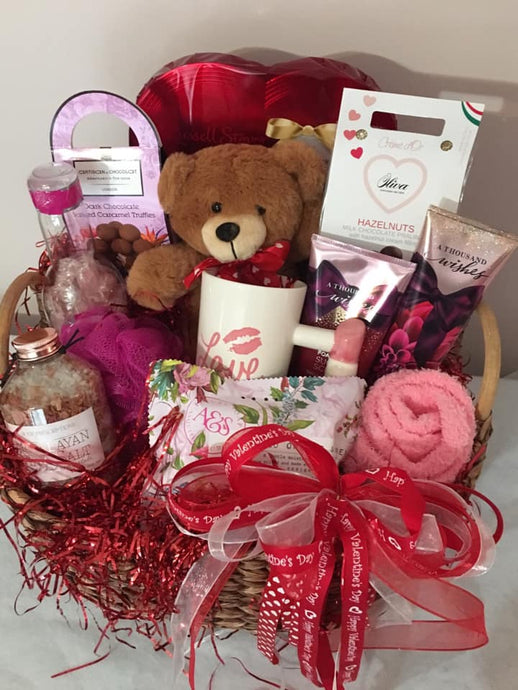 Russell Stover Chocolate Heart Chocolate truffles Teddy Bear Beautiful Mug Thousand Wishes Facial Scrub Thousand Wishes Body Lotion Champagne Candy Hazelnut Chocolates Bath Loofah Cozy Moisturizing Socks Beautiful Bath Salts with Rose Pedals and so much more! May be shipped nationwide.