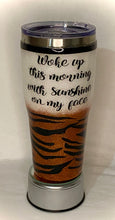 Load image into Gallery viewer, This Tiger King cup is a custom order for a customer. This cup is a 30-ounce stainless steel tumbler that can hold liquids hot/cold for hours. It is decorated in glitter, vinyl, a photo, and FDA food-approved epoxy. It comes with a lid. We can custom design these tumblers any way you like. We can add monograms, names, sayings, etc. We can design by color, size, and your preference for personalization. Call us or email us at 704.526.7407 or email us at perfectselectioncreativegifts@gmail.com and let us desig