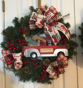 Old Vintage Truck Welcome Wreath