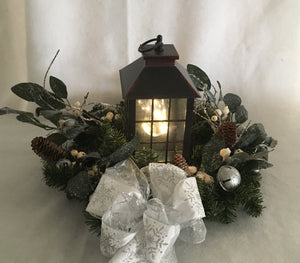 Lantern of Snow and White Berries