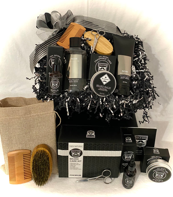Natural Beard Kit & More is the ultimate gift for Father's Day, Grandpa, Fiance, Hubby, and more! This handsomely put together gift includes 100% Natural Fragrance-Free Beard Balm, Beard Oil, Scissors, Beard Brush, Beard Comb, Bath & Body Men's Collection Noir 2 in 1 hair and body wash, Bath & Body Men's Collection Noir Ultra Shea body cream, and so much more!