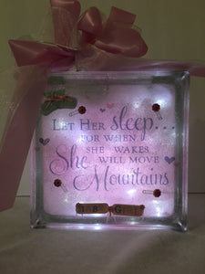 Welcome Baby Girl Light Block