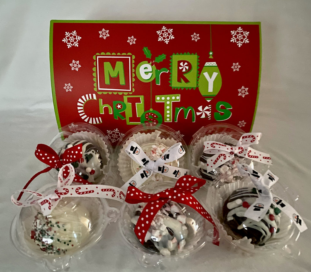 Hot Cocoa Bombs are here!!! We can add these delicious hot cocoa bombs to any of your gifts or gift baskets. Reach out to us and let us know which you would like milk chocolate or white chocolate? We can get other flavors we need a day or two for your special orders. They are all delicious and festive! These large hot cocoa treats are perfect for anyone who loves hot cocoa! Chat with us online here or text, call 704.526.7407. When ordering please specify milk or white chocolate in Notes.