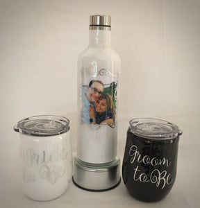 Bride & Groom To Be wine and cup set...