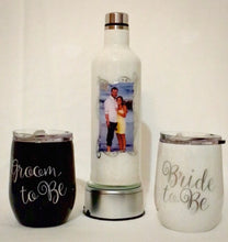 "Load image into Gallery viewer, ""Bride & Groom To Be"" Wine Bottle and Stemless Wine Glass set... is a stainless steel set of stemless wine glasses and a bottle that holds your wine chilled or at room temperature for hours. This was personalized for this couple and can be personalized or designed any way you like. We can add monograms, names, sayings, etc."