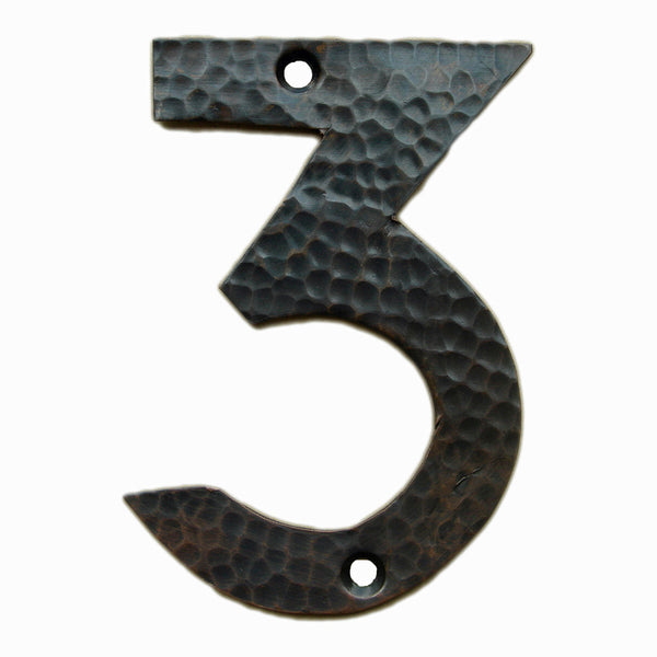 <p>Beautiful solid copper Arts & Crafts Craftsman style house number in 3. </p>