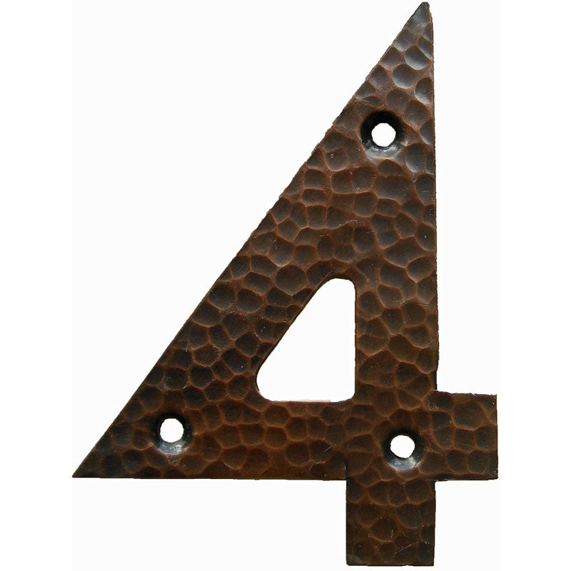<p>Beautiful solid copper Arts & Crafts Craftsman style house number in 4. </p>