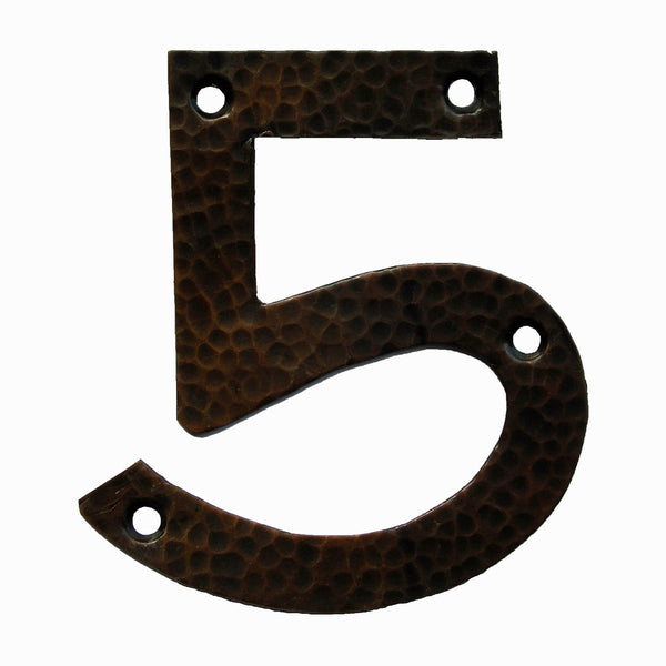 <p>Beautiful solid copper Arts & Crafts Craftsman style house number in 5.</p>