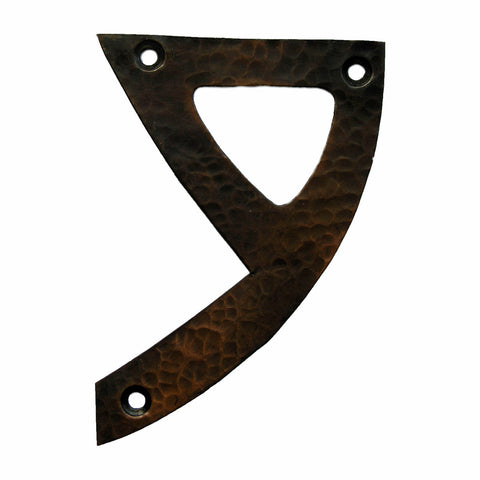 <p>Beautiful solid copper Arts & Crafts Craftsman style house number in 9. </p>