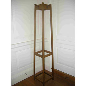 Elegant Mission style Arts & Crafts oak hat/coat/umbrella stand with 4 copper plated pegs.