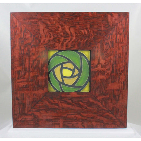 "Beautiful 4 handcrafted tile in a 9 ÌÎ̴̢_"" x 9 ÌÎ̴̢_ "" handmade oak frame for hanging on a wall or displaying on a mantle."""