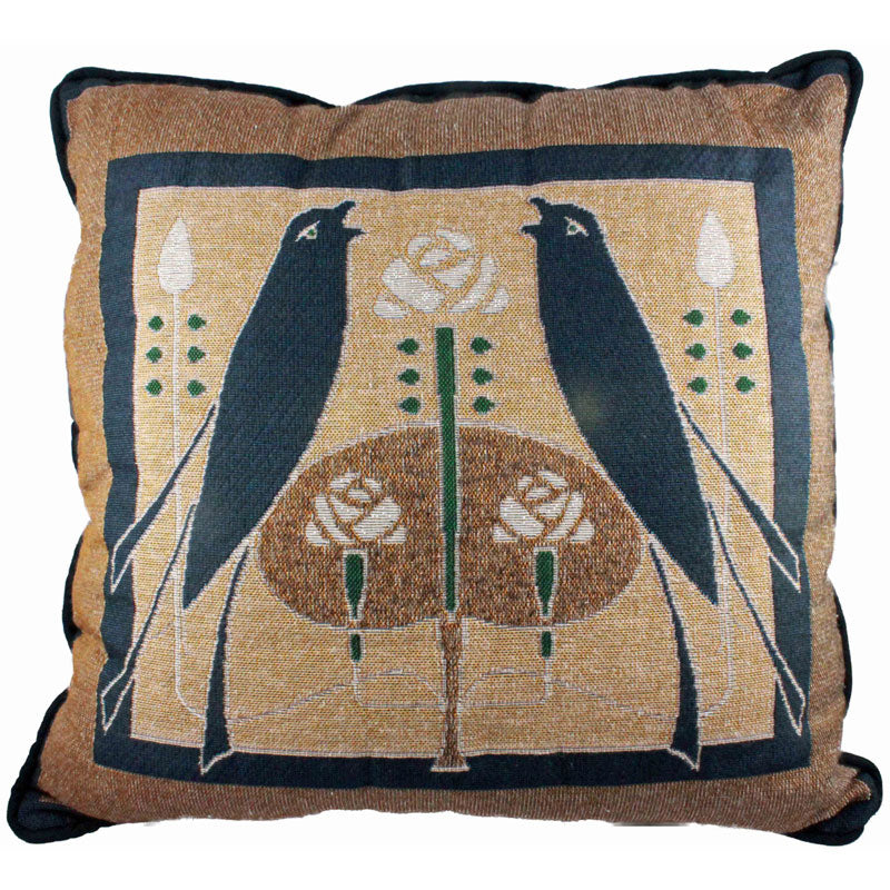 <p>Beautiful cushion with Arts and Crafts style Songbirds design by graphic artist Talwin Morris (1865-1911) that appeared on the cover of a poetry volume published in 1902.</p>