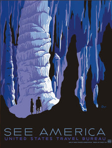<p>This is a faithful reproduction of a vintage 1930s poster for the United States Travel Bureau promoting tourism and to 'See America'. The poster depicts Carlsbad Caverns in New Mexico and was created in 1939 by Alexander Dux as part of the Works Project Administration (WPA) Federal Art Project. </p>