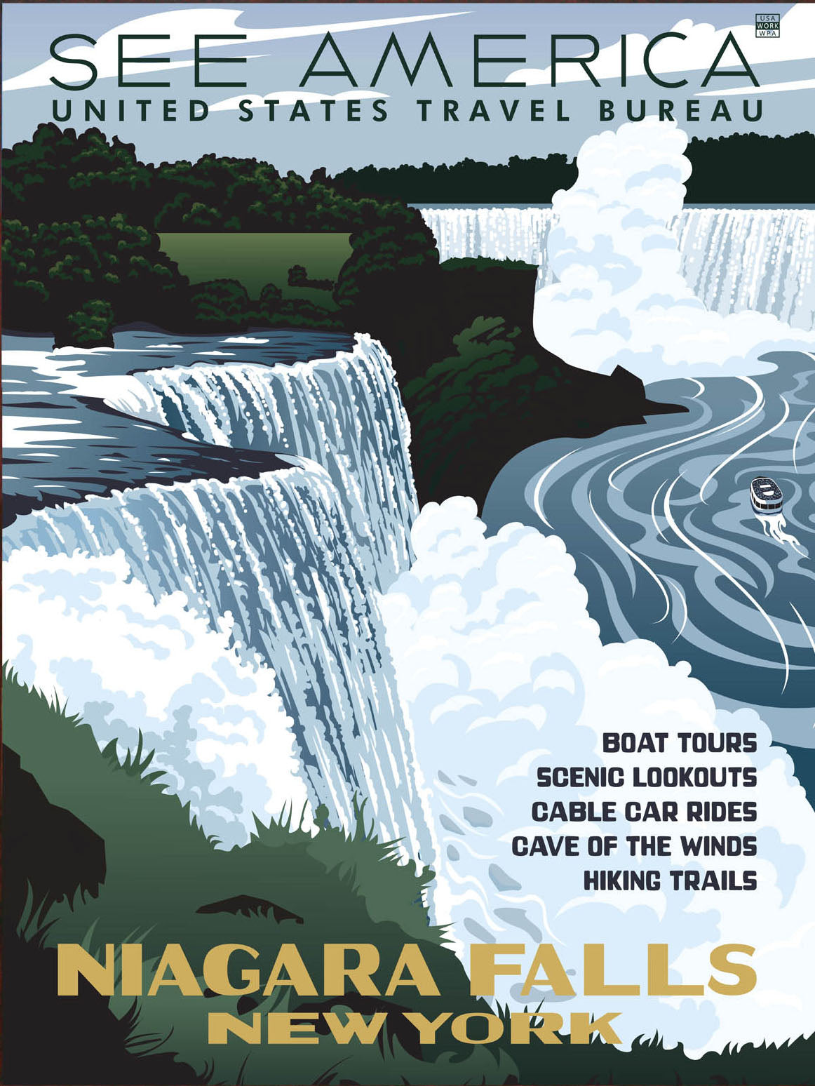 <p>This is a faithful reproduction of a 1930s vintage poster for the United States Travel Bureau promoting Niagara Falls.</p>