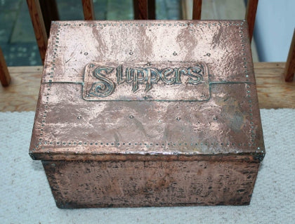 <p>Antique Arts & Crafts copper slipper box.</p>