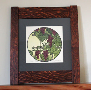<p>Stunning signed  limited edition framed block print of a grape vine in an Arts and Crafts era inspired design. As though looking through a Chinese moon gate  this decorative circle block print takes us into the natural world around us.</p>