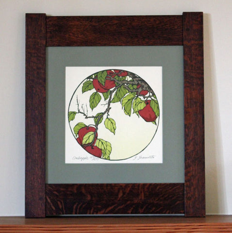 <p>Stunning signed  limited edition framed block print of a Crabapple branch in an Arts and Crafts era inspired design. As though looking through a Chinese moon gate  this decorative circle block print takes us into the natural world around us.</p>