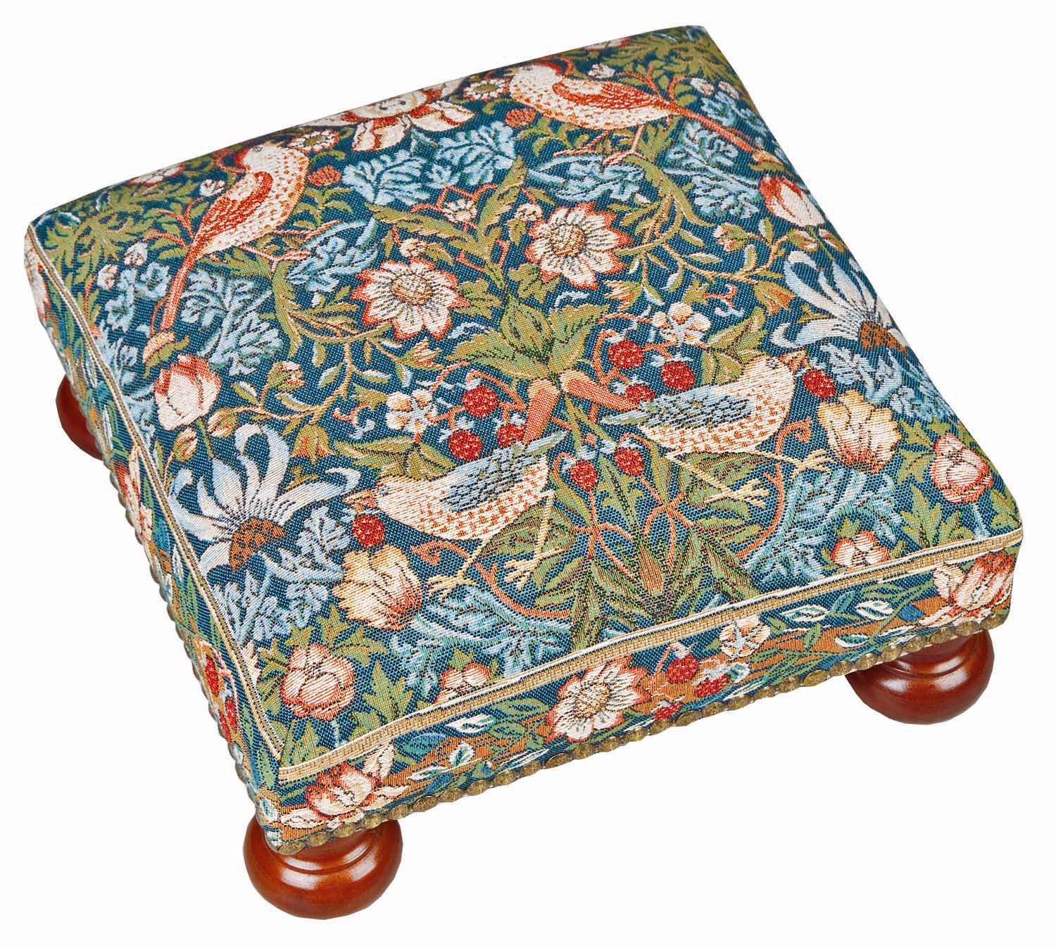 <p>Fine quality cotton jacquard tapestry footstool in William Morris Strawberry Thief design.</p>