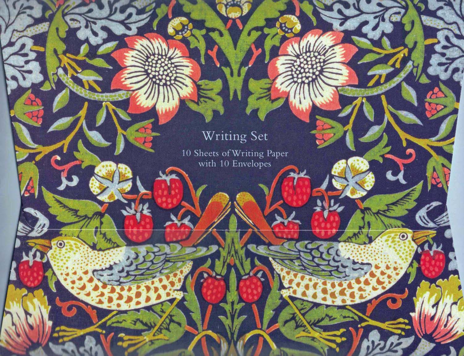 "<p>Writing set of William Morris ""Strawberry Thief"" design (1883) containing 10 sheets of high quality A5 printed writing paper with 10 envelopes encased in an attractive matt laminate folder (7 3/8"" x 9.5"").</p>"