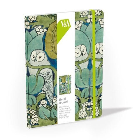 <p>Handy hard cover lined journal with front and back cover in CFA Voysey's The Owl design.</p>