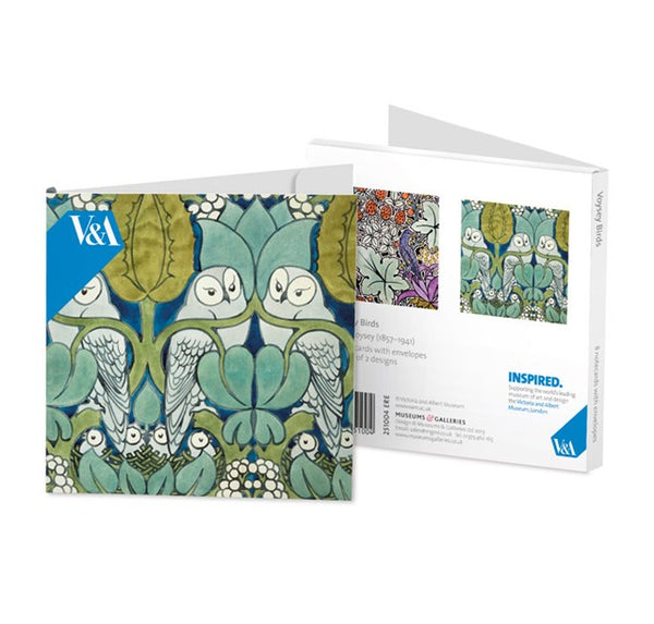 <p>8 note cards (4 each of 2 designs) and white envelopes of birds designed by CFA Voysey.</p>